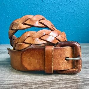 Vtg brown leather braided belt, sz 38